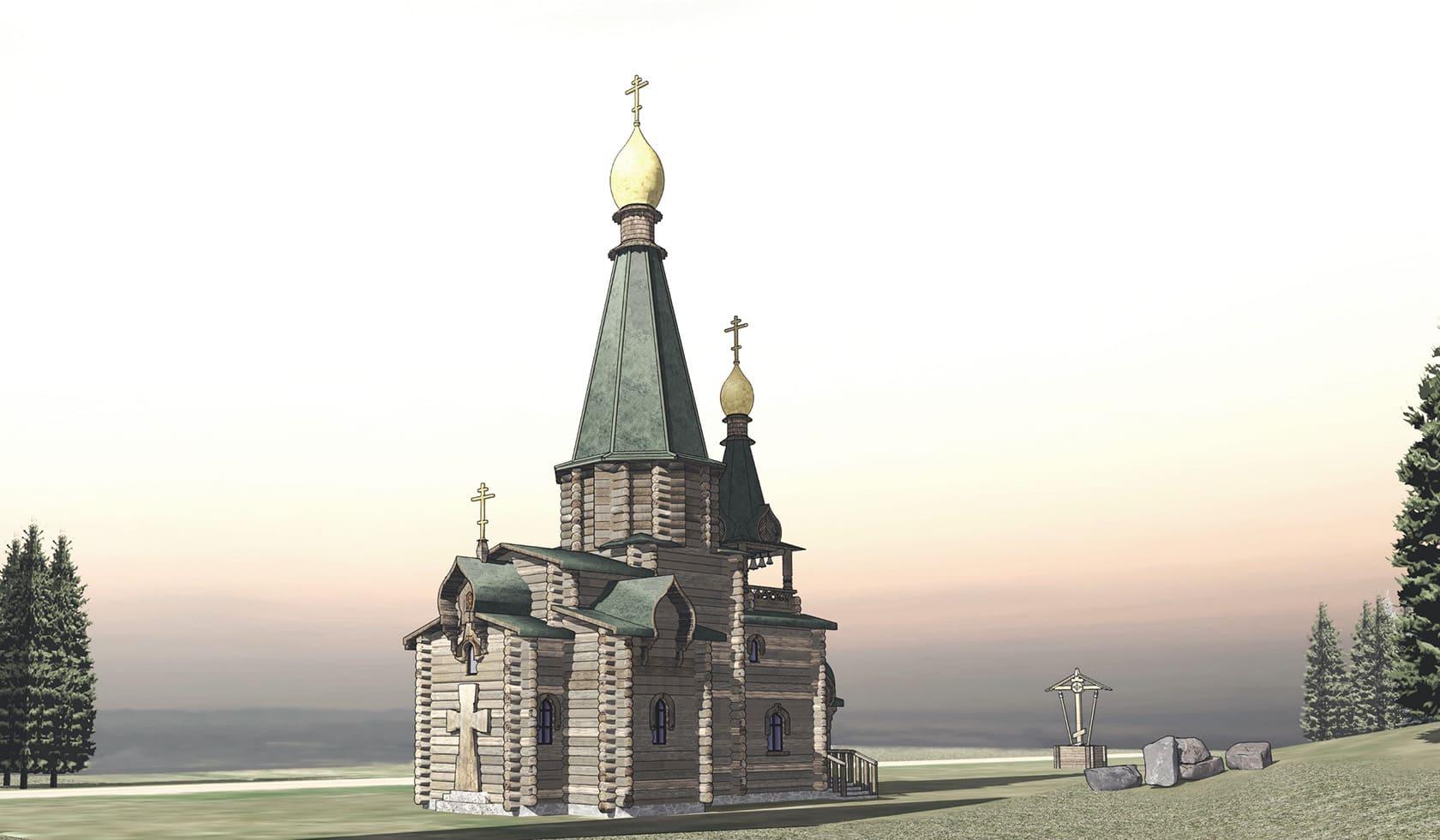Проект деревянного храма, церковь проект,  храм строительство, проектирование православных храмов,  деревянный проект храма