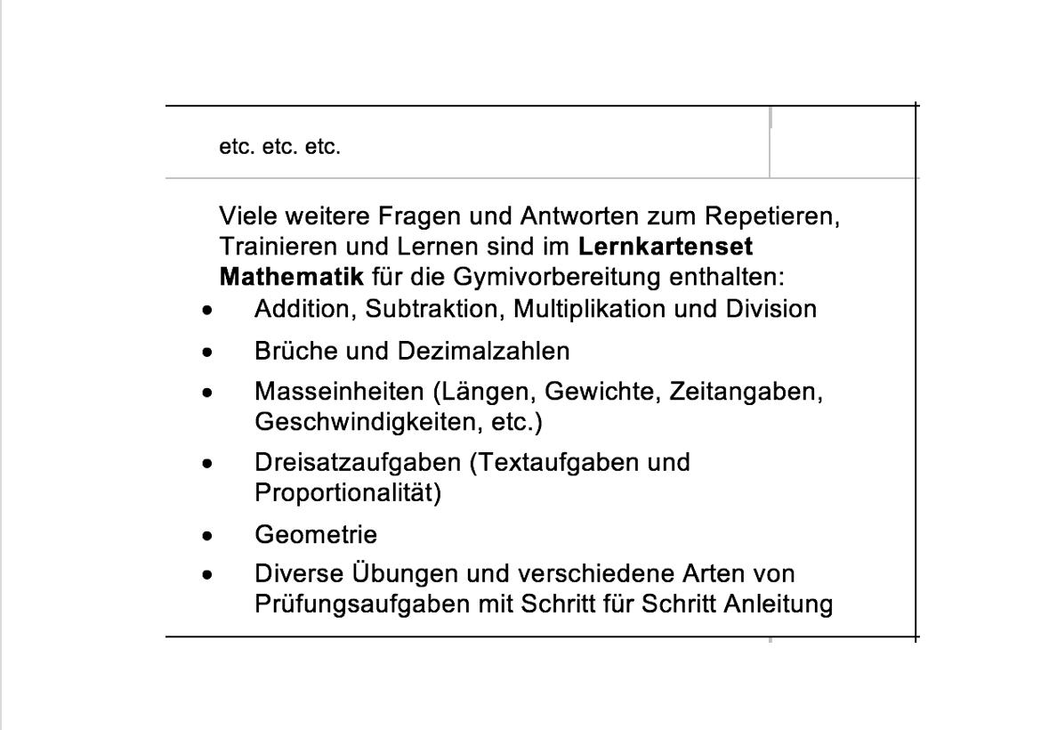 Lern- und Übungsmaterial Gymiprüfung 2019