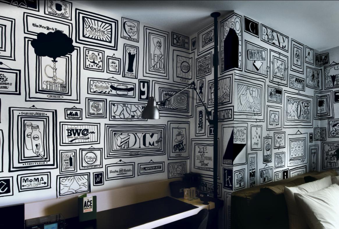 пошел декор стены из черно-белых картинок сложенным