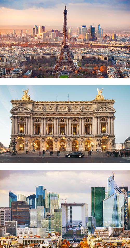 Здание Оперы в Париже на фоне голубого неба