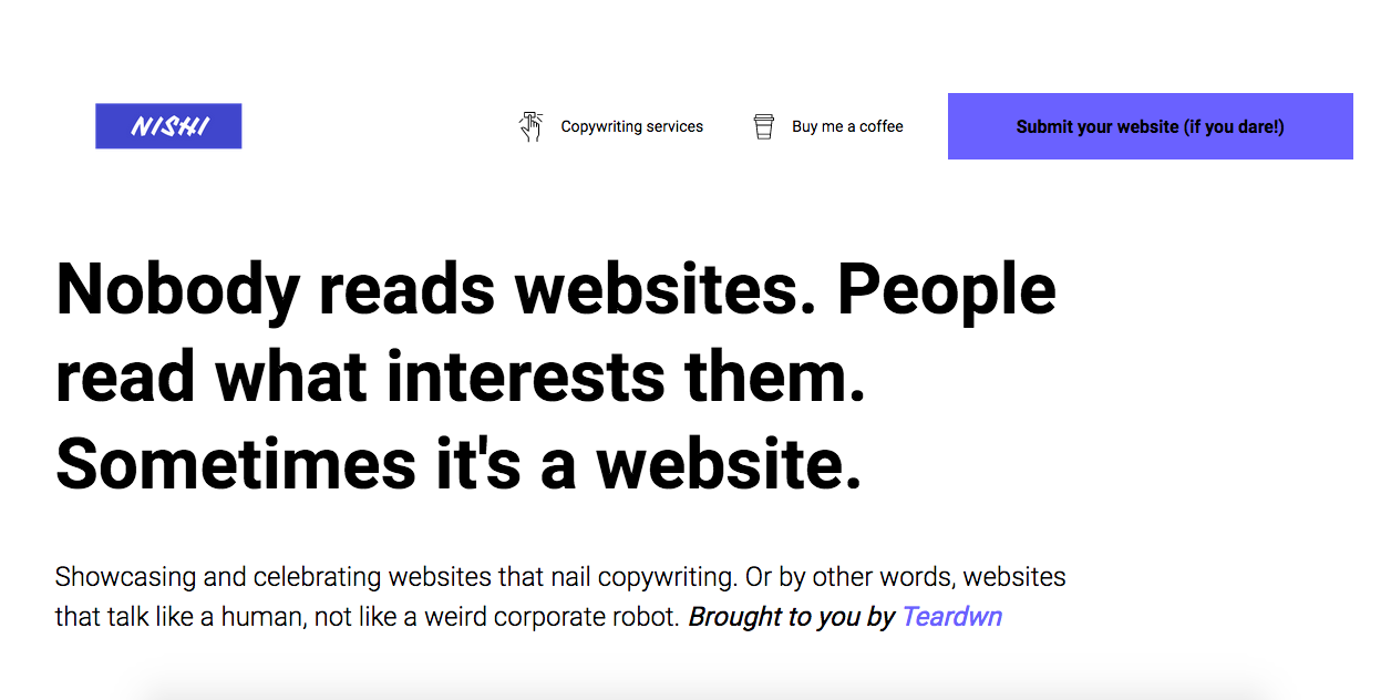Nishi - The Place to Go for Copywriting Inspiration