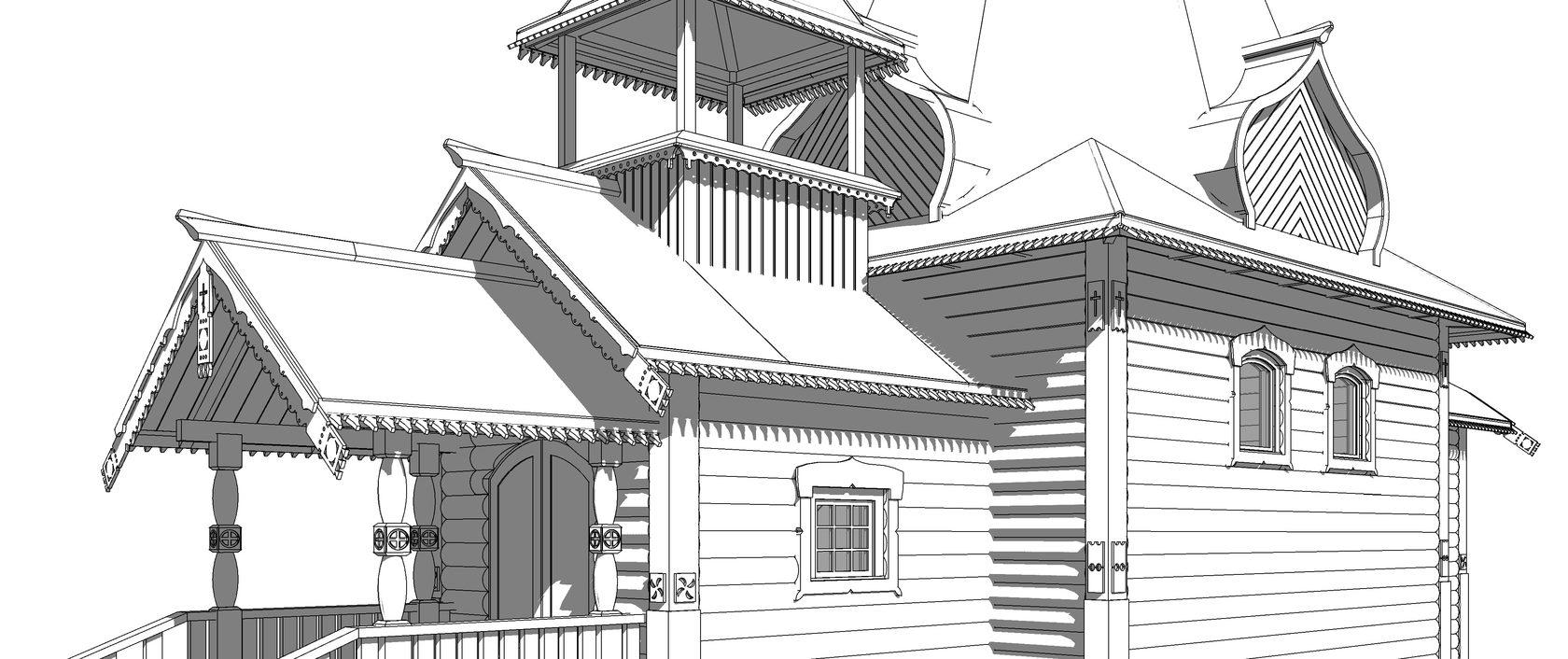 Проект деревянного храма, церковь проект,  храм строительство