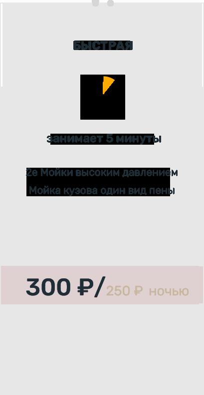 Быстрая программа мойки. Занимает 5 минут. Включает две мойки высоким давлением, мойка кузова,один вид пены. 300 рублей днем, 200 рублей ночью.