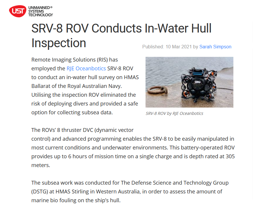 ROV article Unmanned Systems News