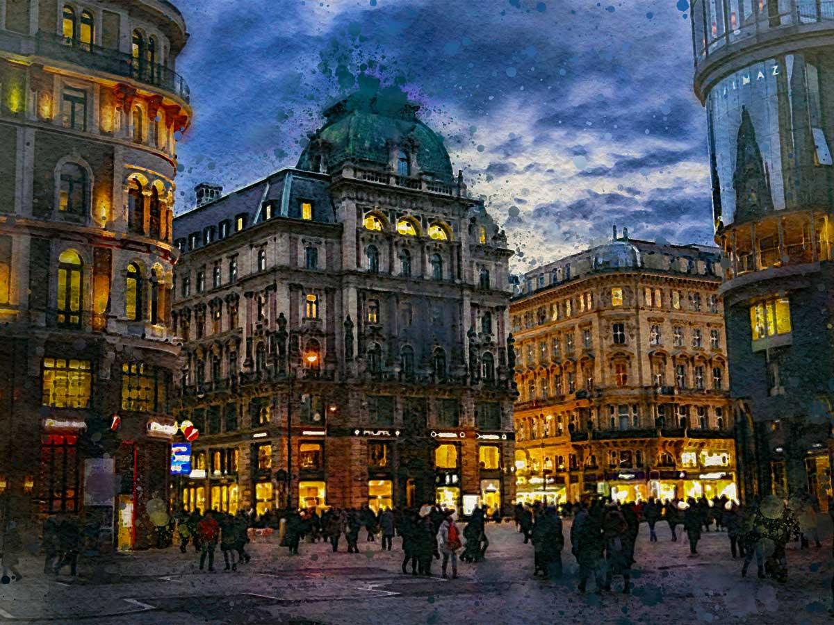Город Вена ночью, акварель
