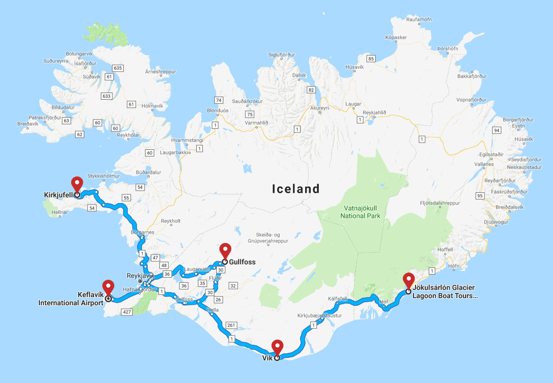 The map of the winter Icelandic photo expedition