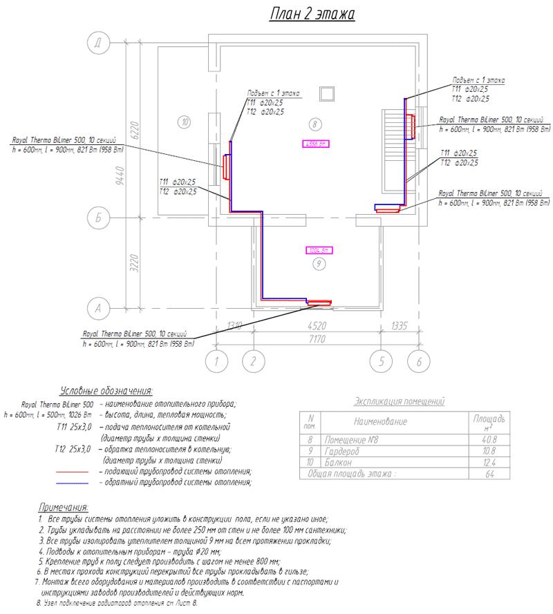 Проект радиаторного отопления на 2-м этаже частного дома