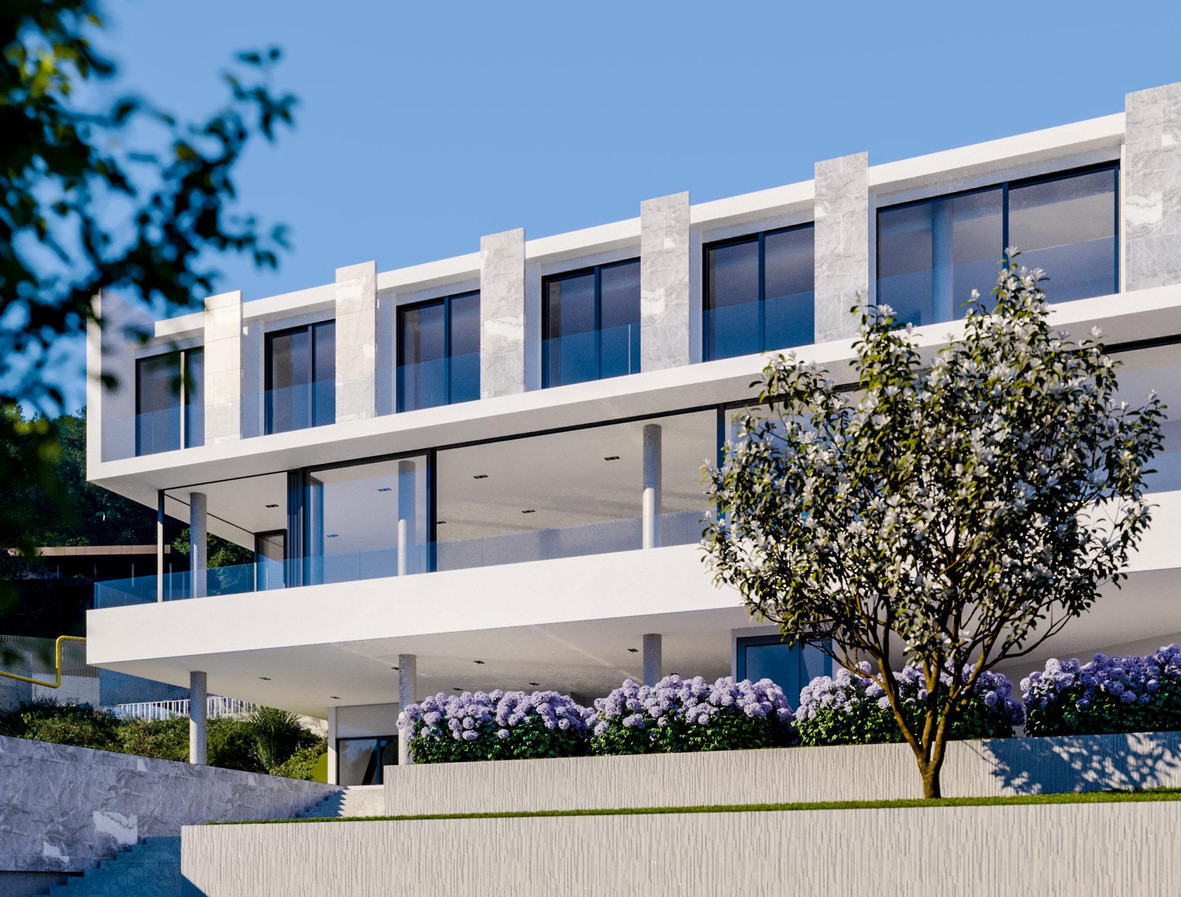 визуализация, эскизный проект, сочи, хоста, вилла, на склоне, 500 кв.м., два этажа, с бассейном, архитектурный, окна в пол, schuco