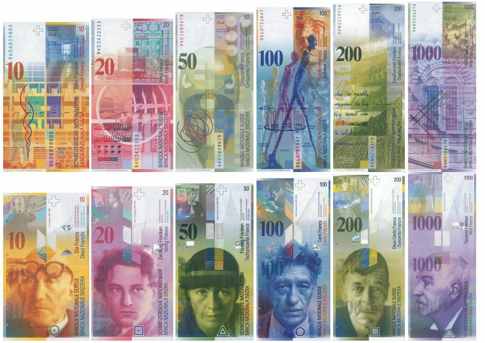 Банкноты восьмой серия швейцарских франков