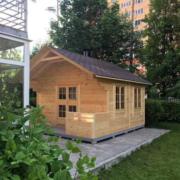 Дачная летняя кухня-домик с верандой «Kitchen House 12»