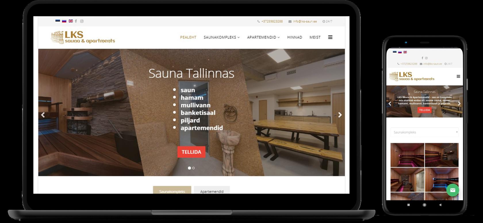 Veebileht LKS Sauna&Apartments jaoks