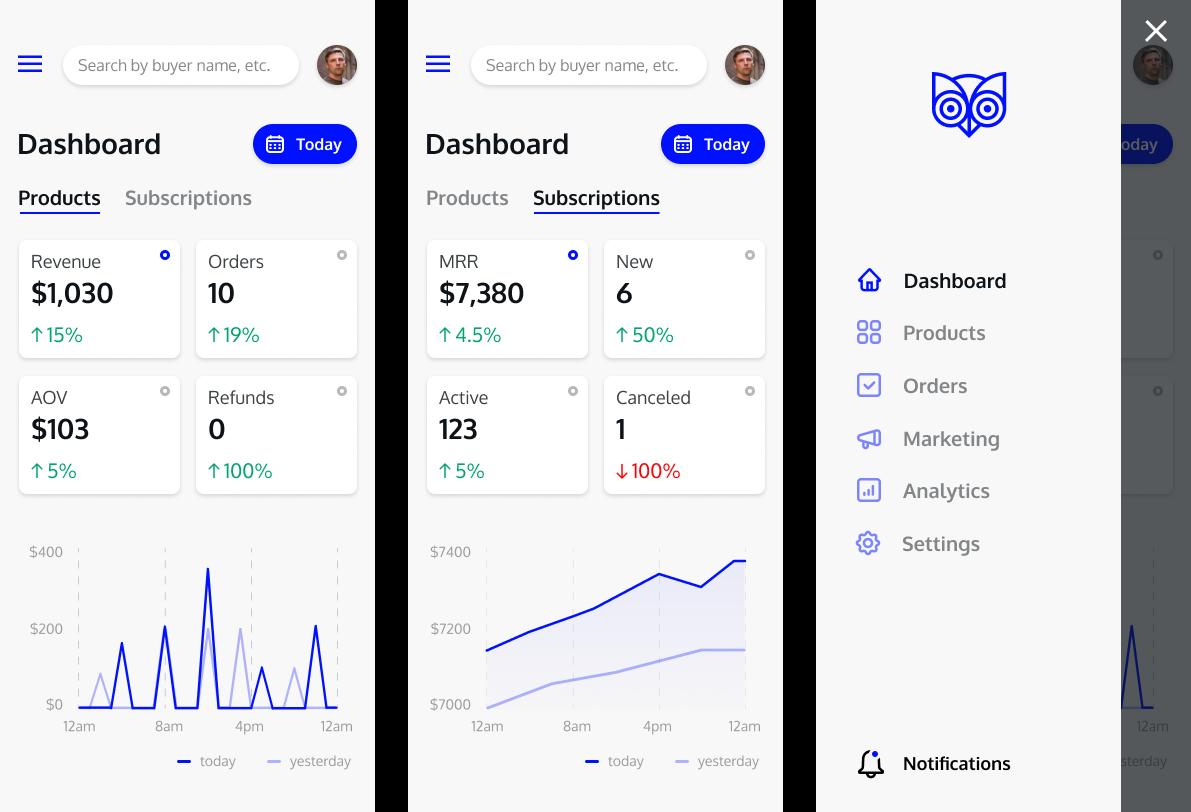 mobile dashboard UI ecommerce