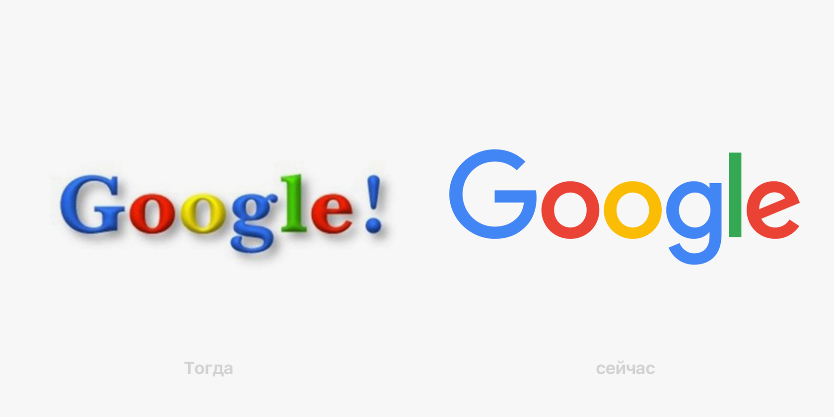 Слева — вариант логотипа 1998 года, разработанный Ларри Пейджем и Сергеем Брином для дипломной работы, справа — актуальный вариант, созданный в 2015 году командой Google