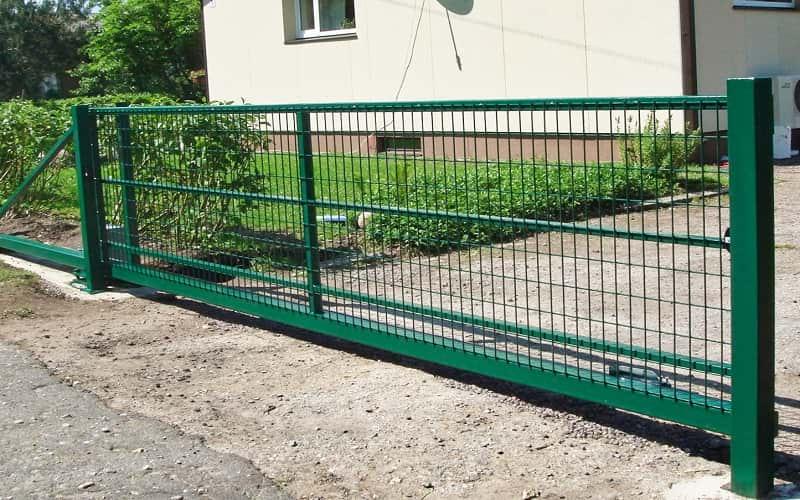 Откатные ворота из металлической сетки