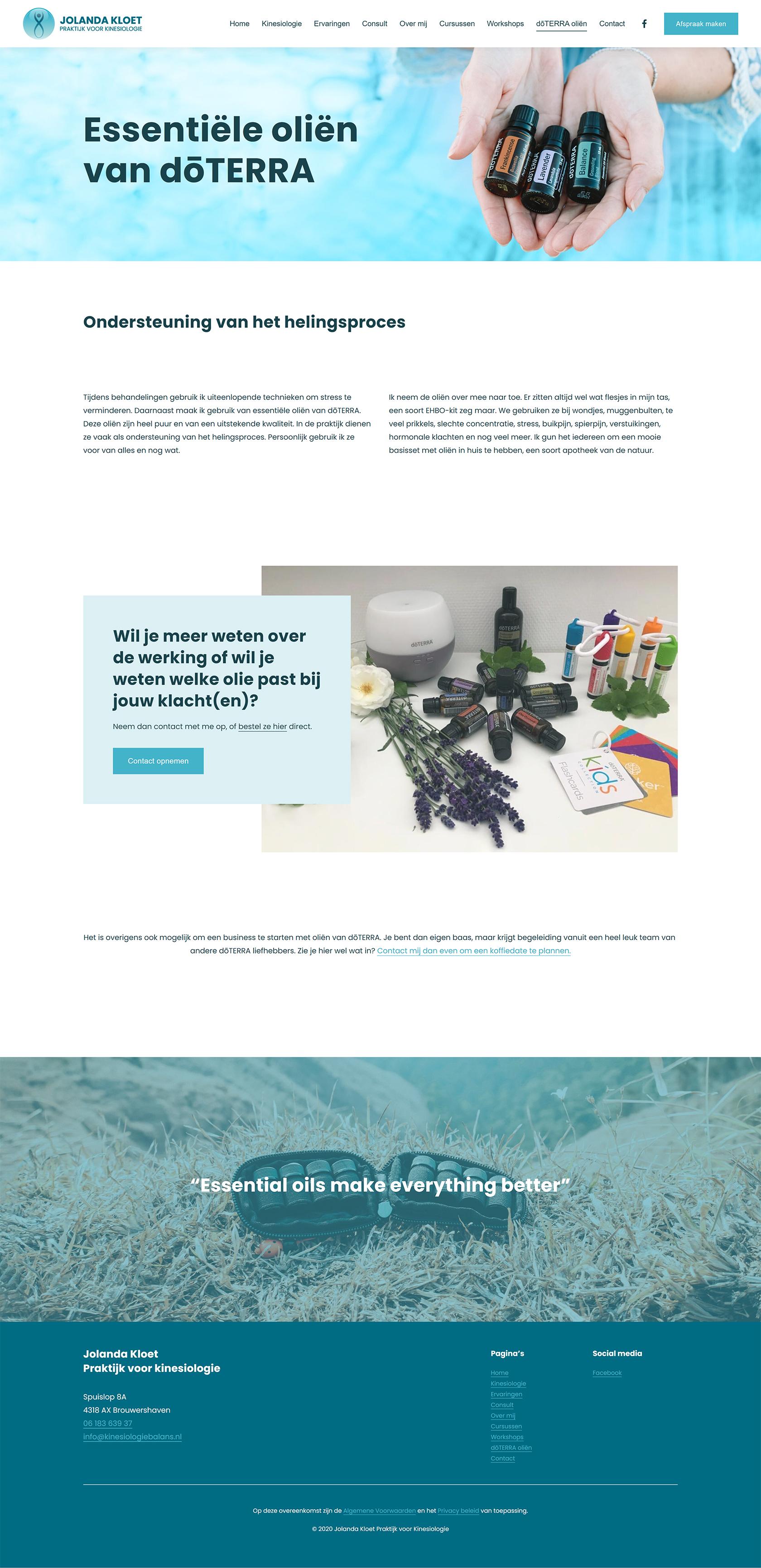 Website ontwerp doterra olieën pagina Jolanda Kloet | Praktijk voor kinesiologie