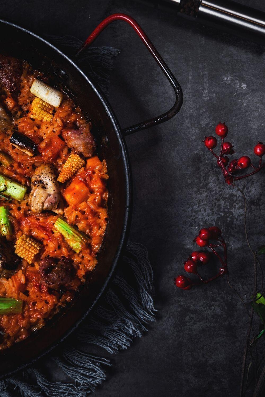 Идеи фото с едой рис с курицей на сковороде