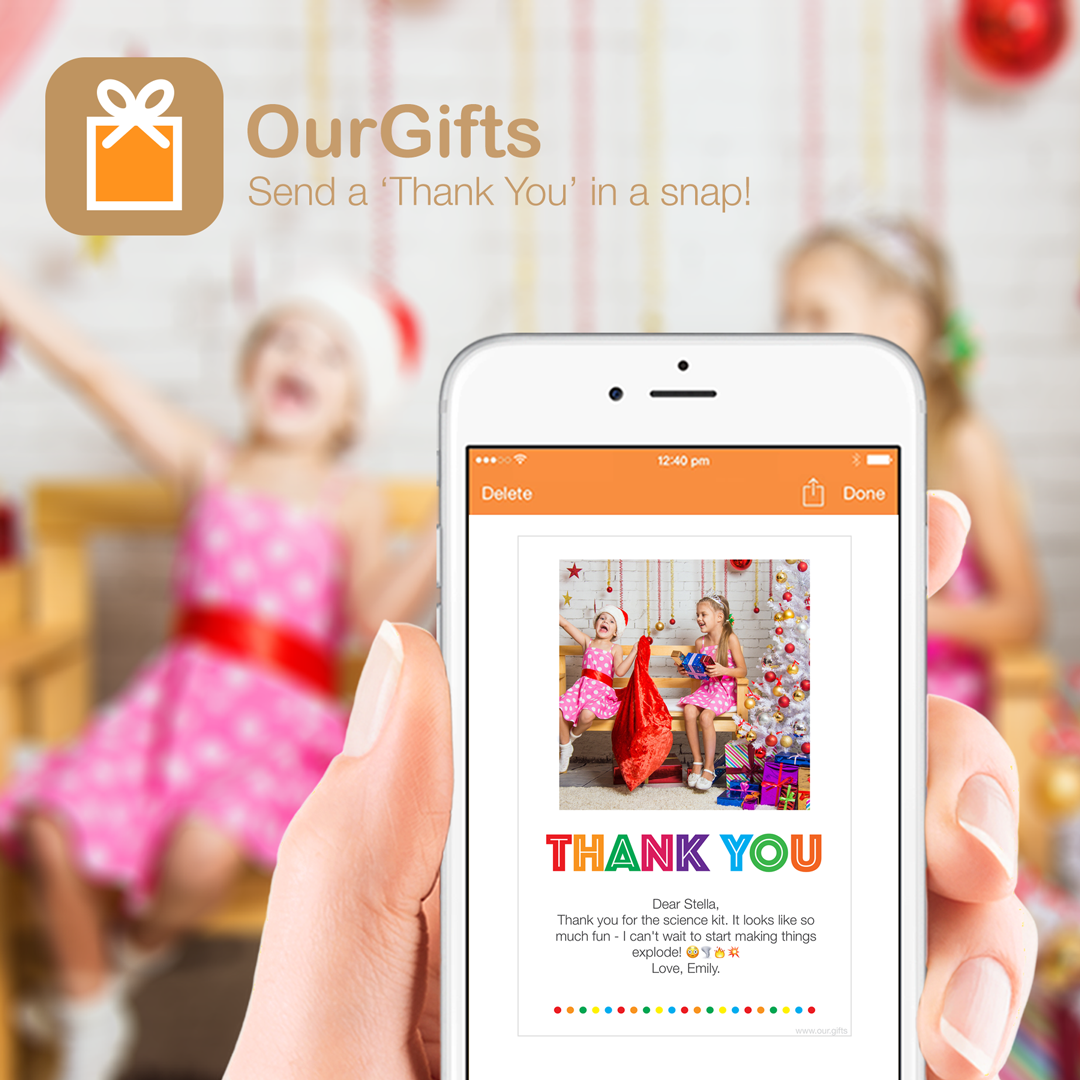 ourgifts send a thank you in a snap
