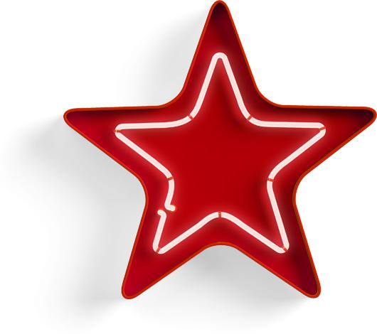 Звезда неоновая световой объемный знак