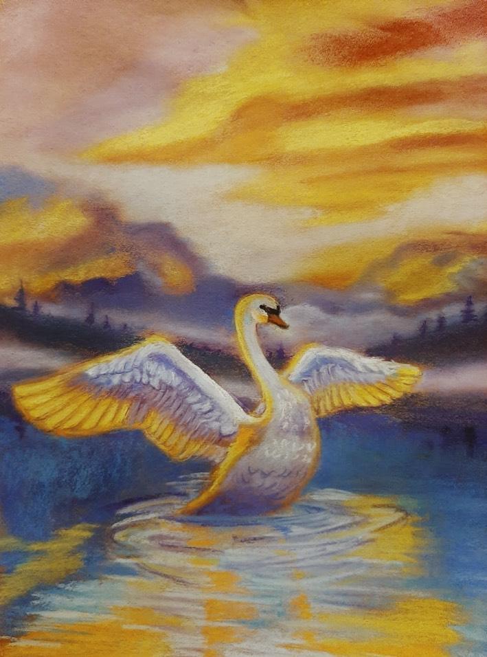 Фомичева Ольга / тема «Поэзия»: Подражайте лебедям, Л.Павлова / пастель