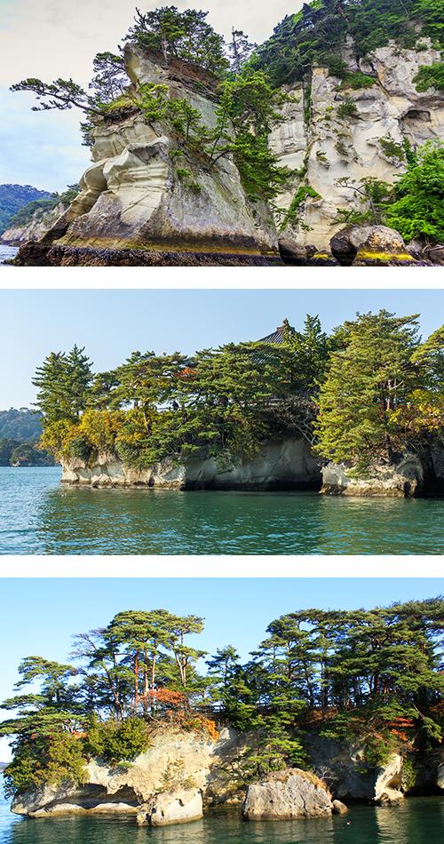 Мацусима состоит из множества больших и маленьких сосновых островов