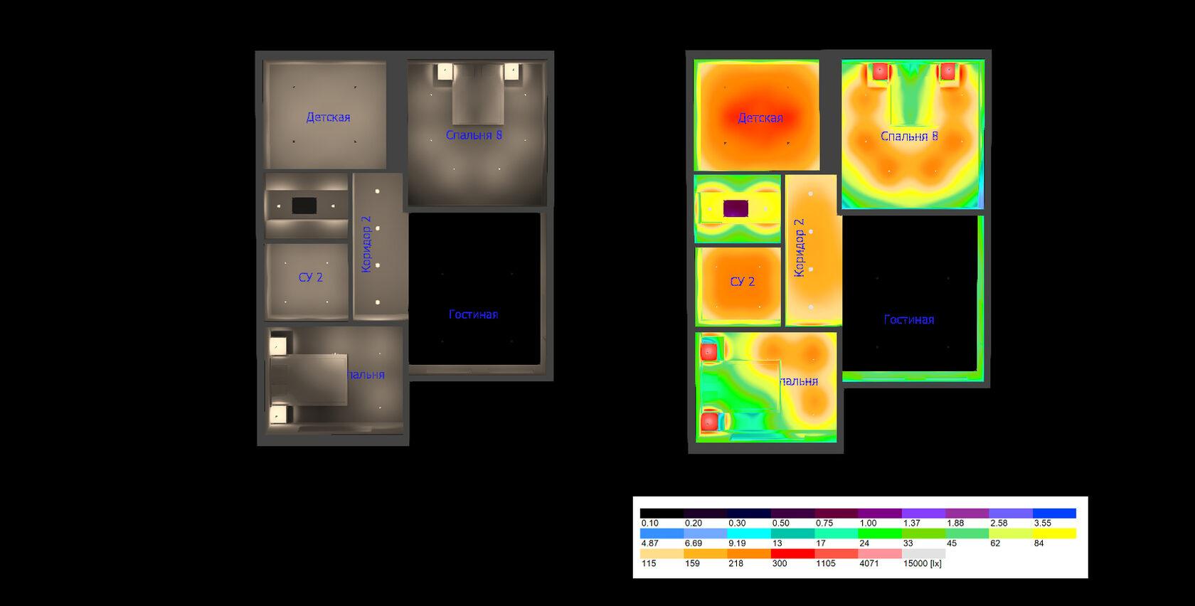 Расчет освещения на втором этаже