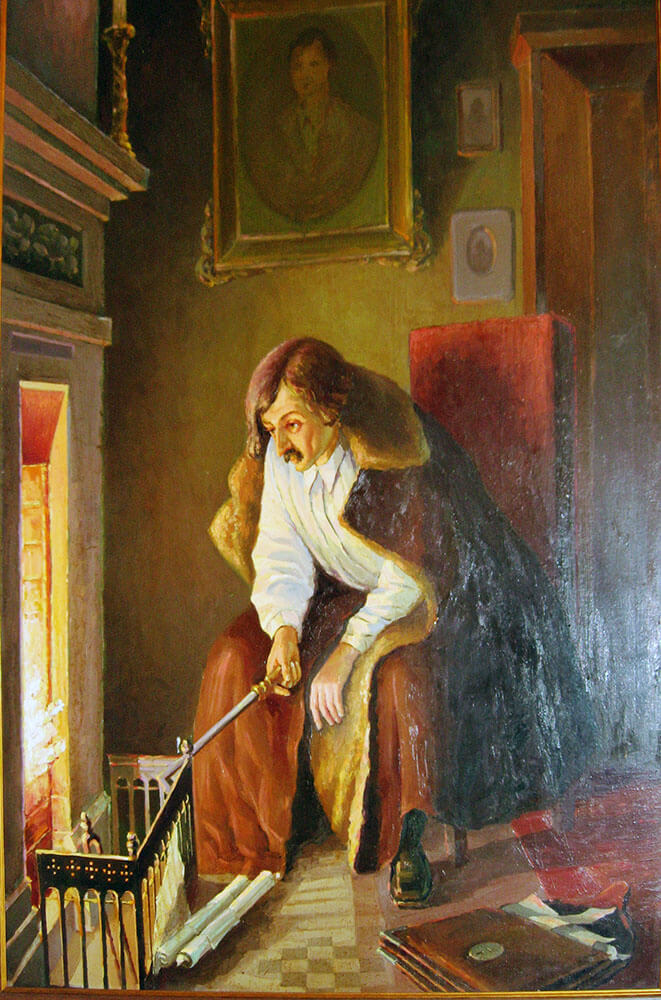 """Михаил Клодт «Гоголь сжигает рукопись второго тома """"Мертвых душ""""»."""