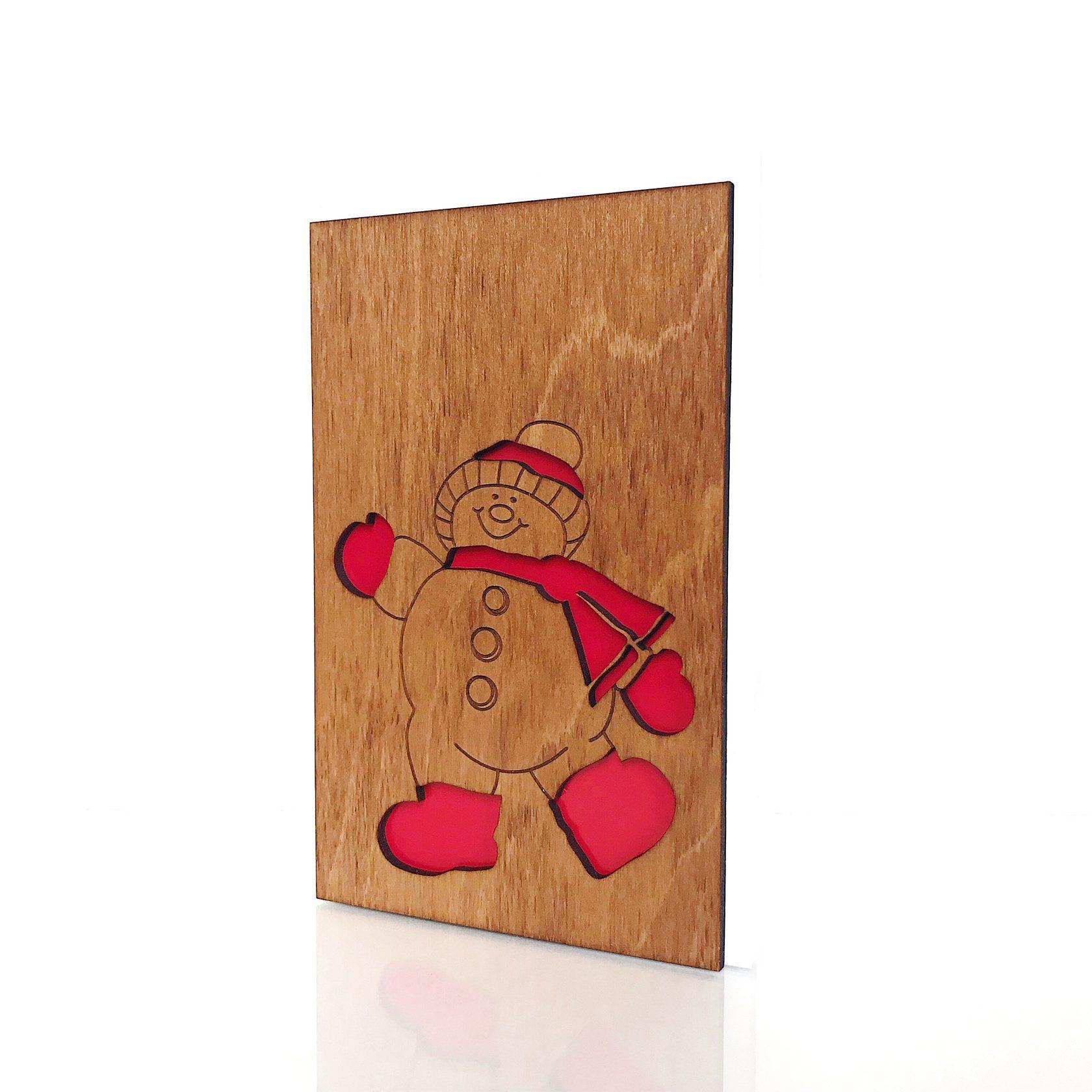 """Деревянная открытка WOODCARD.BZ """"Снеговик"""""""