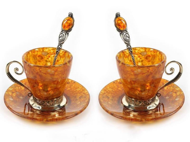 Калининград  посуда из янтаря в подарок. Фото.