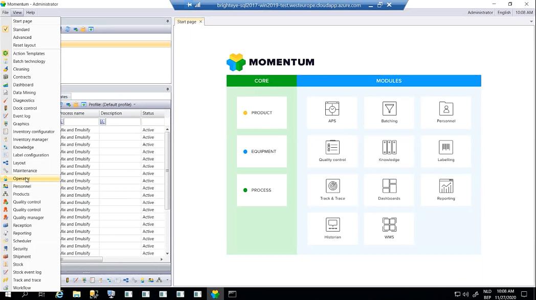 Старый интерфейс оператора производственной линии в Momentum