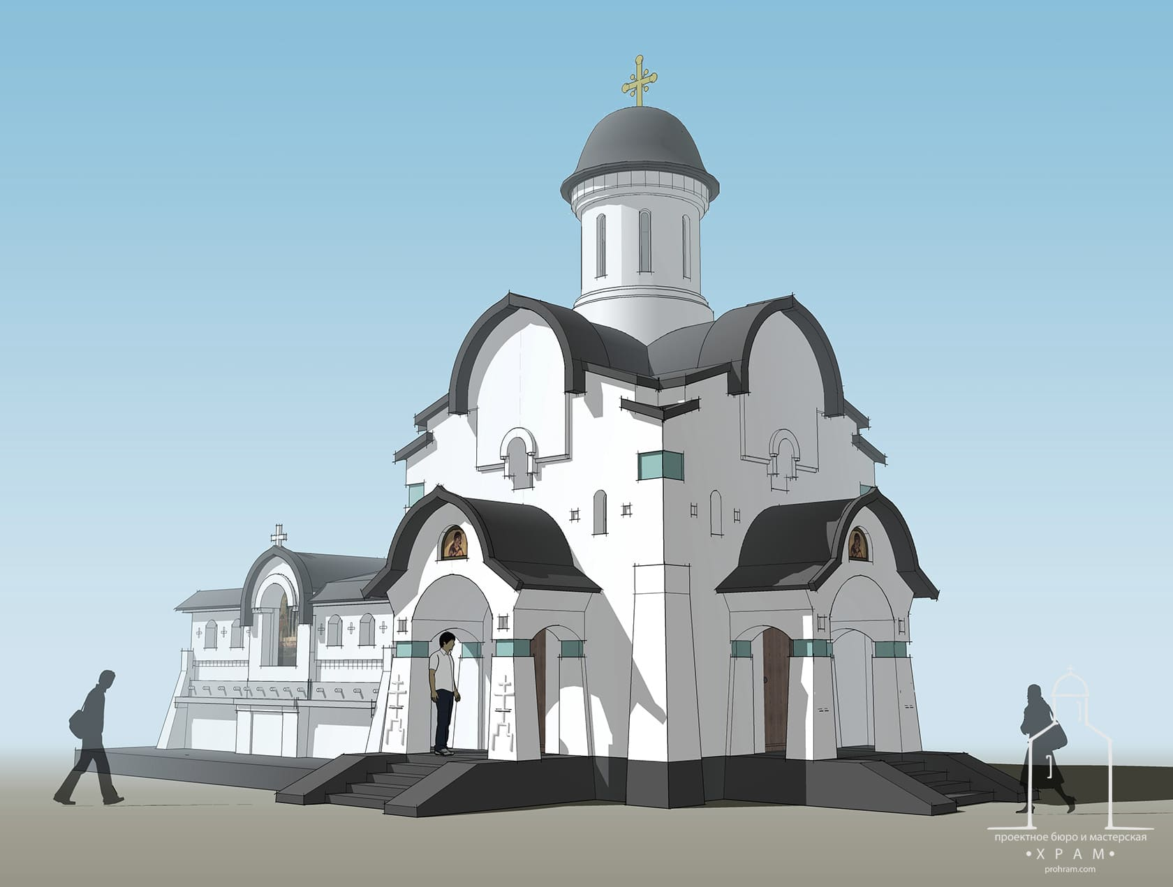 Chapel for the Blessing of Water, chapel project, sacred architecture, church proiect, orthodox church project