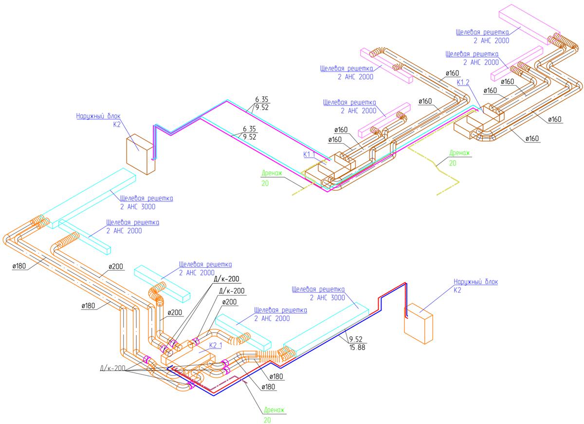 Аксонометрическая схема системы кондиционирования квартиры