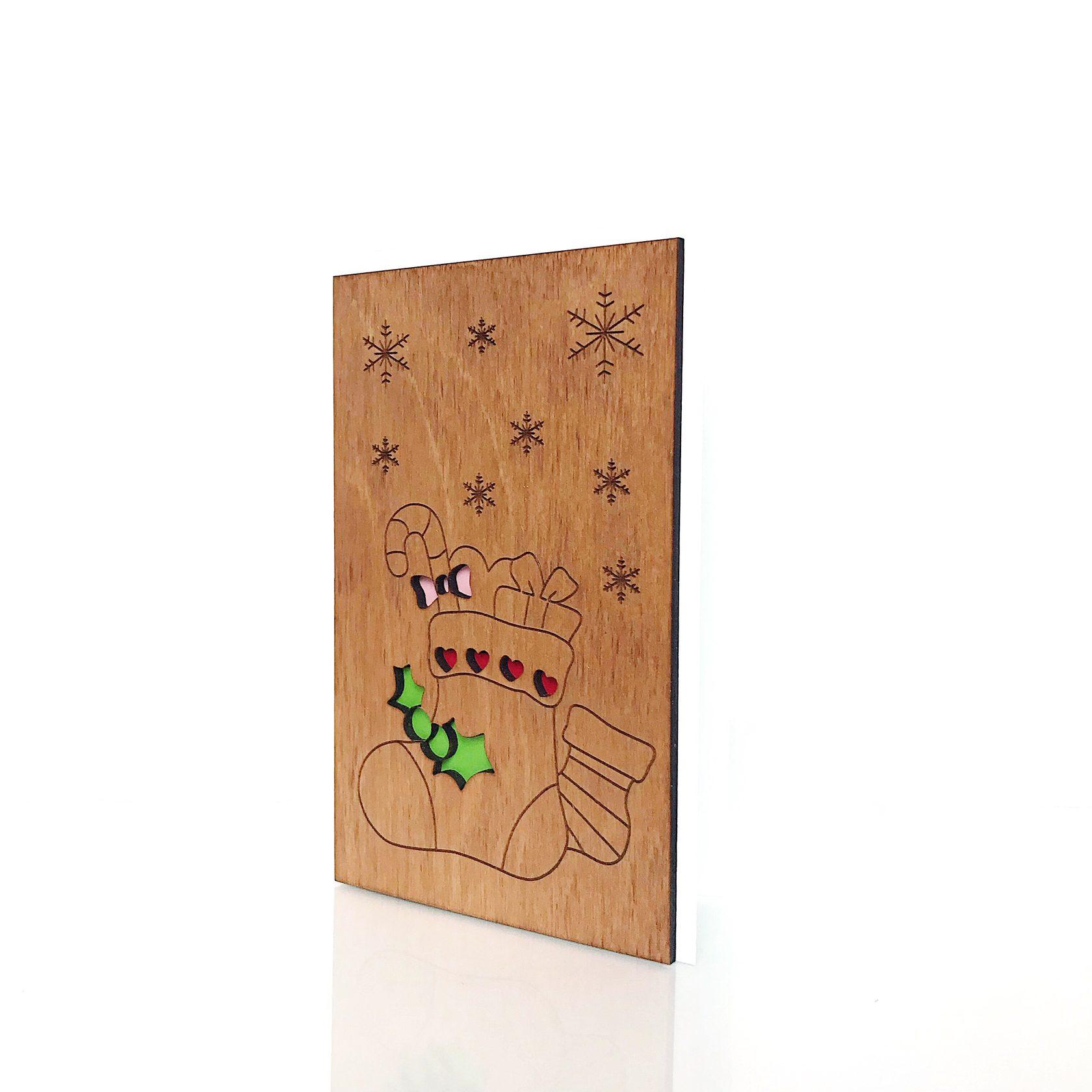"""Деревянная открытка WOODCARD.BZ """"Носок с подарками"""""""
