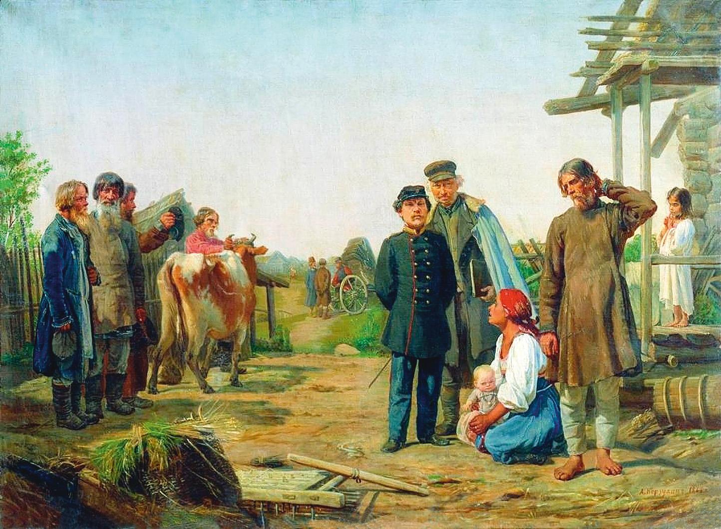 Алексей Корзухин. «Сбор недоимок» (1868)