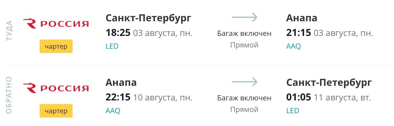 Петербург - Анапа - Петербург