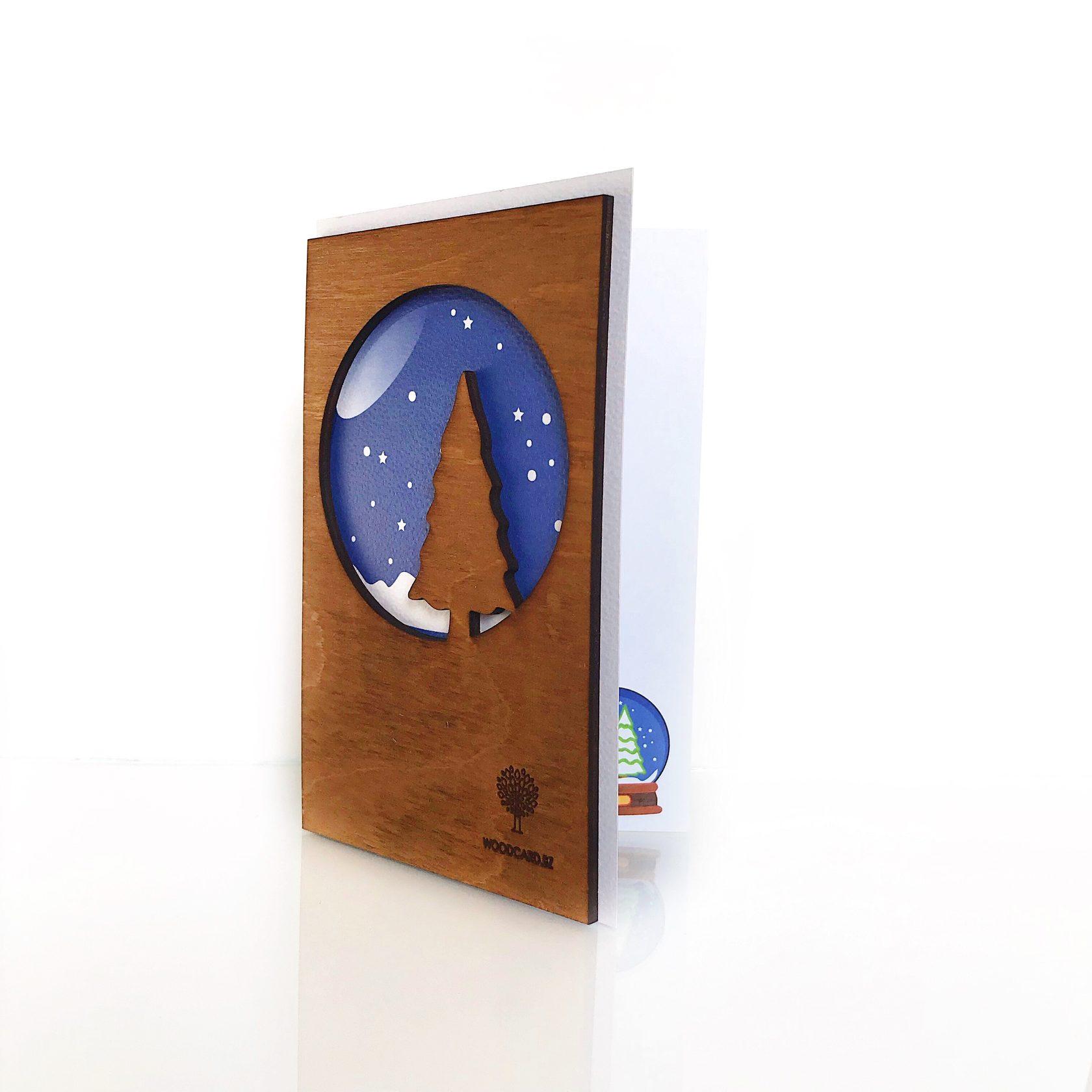 """Деревянная открытка WOODCARD.BZ """"Новый год"""""""