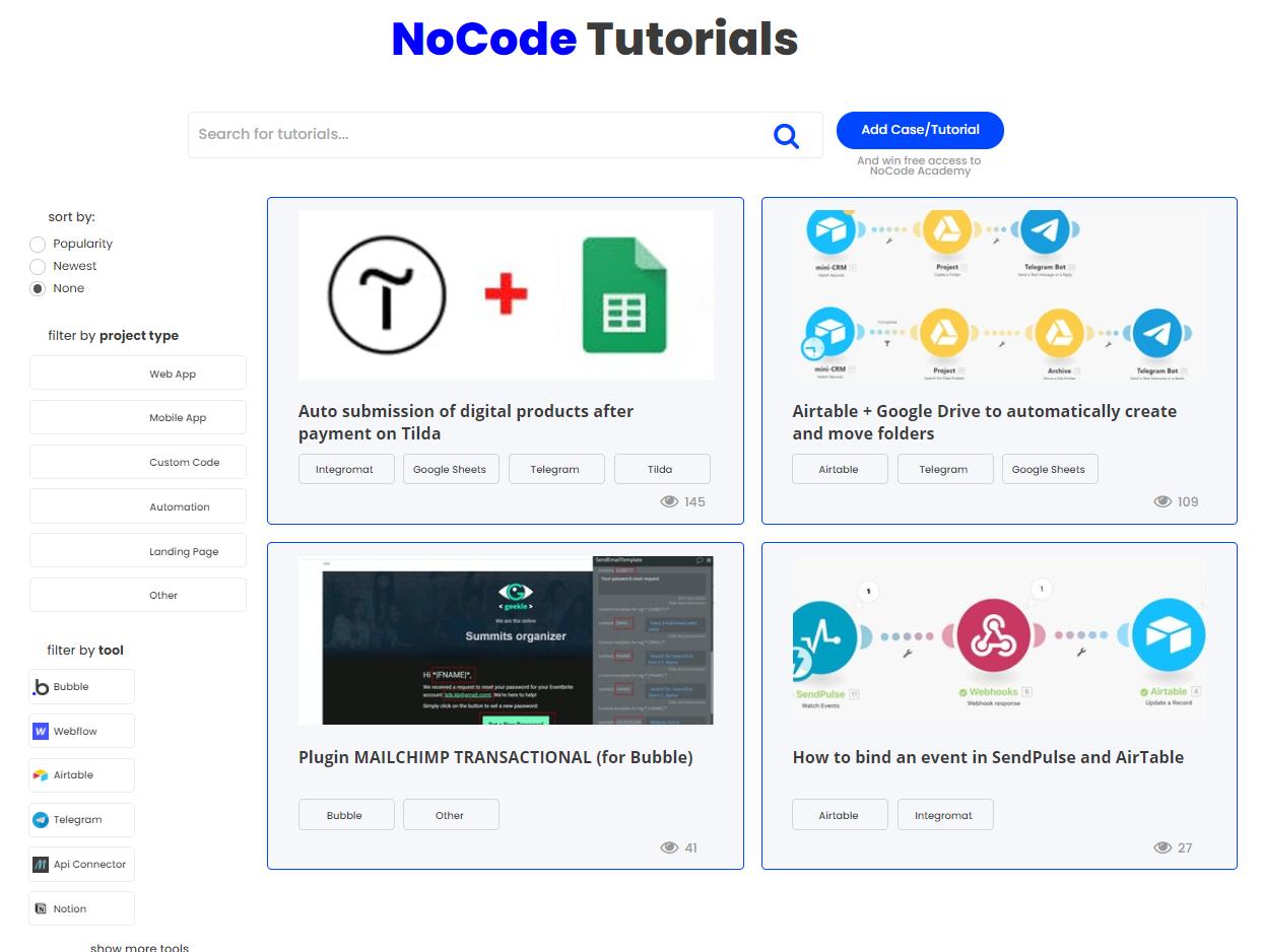Screenshot of the NoCode tutorial app