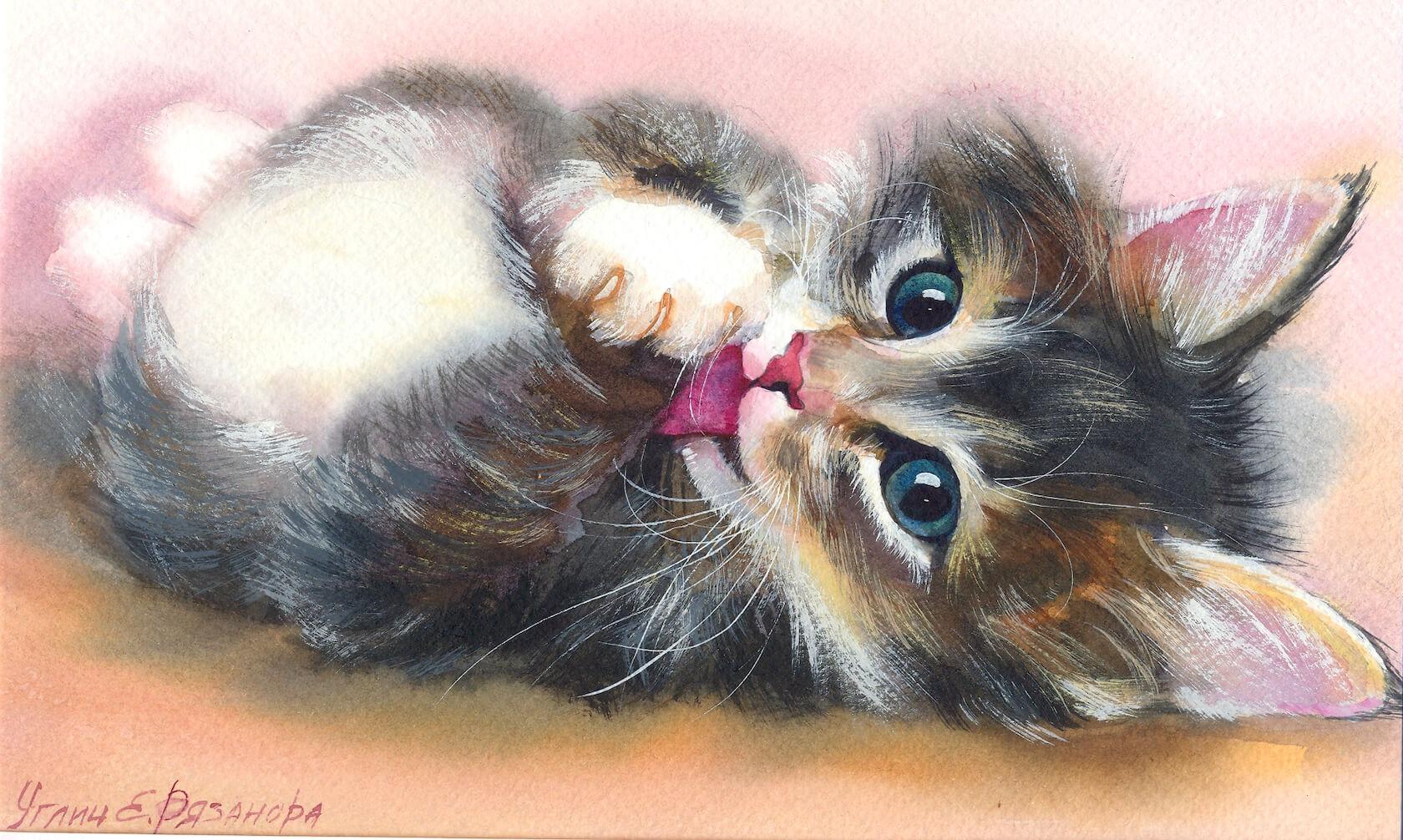 Нарисовать кота для открытки, добрым