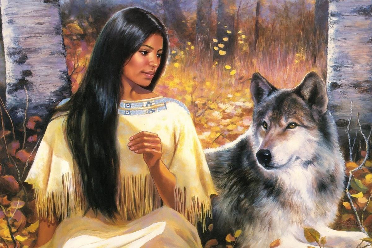 Картинки индеец с волками