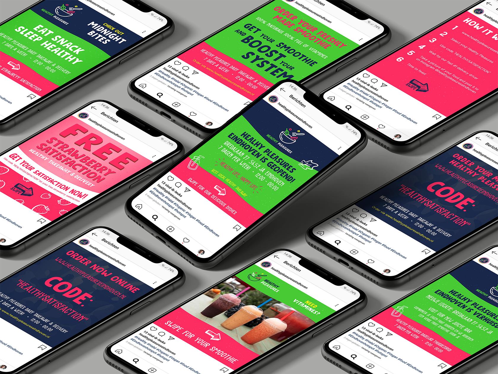 Social media templates ontwerp voor Instagram Healthy Pleasures