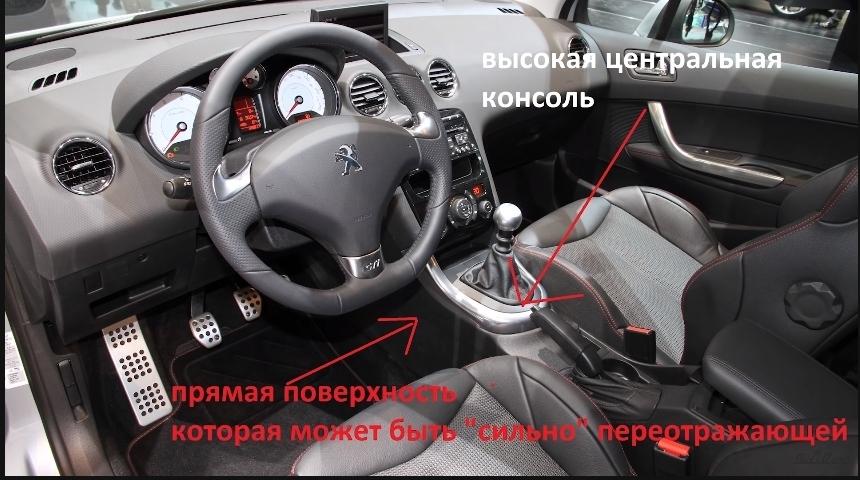 переотражения динамика в автомобиле