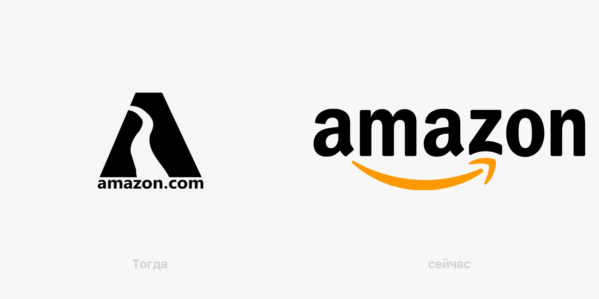 Слева — вариант логотипа Amazon 1995 года с рекой в букве «А», справа — актуальный вариант «улыбка», созданный в 2000 году. Оба логотипа разработаны командой дизайнеров Turner Duckworth (Тернер Дакворт)