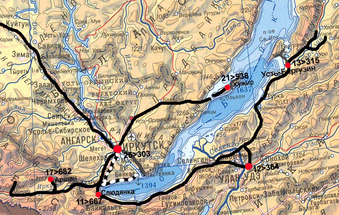 Карта дорог Байкала