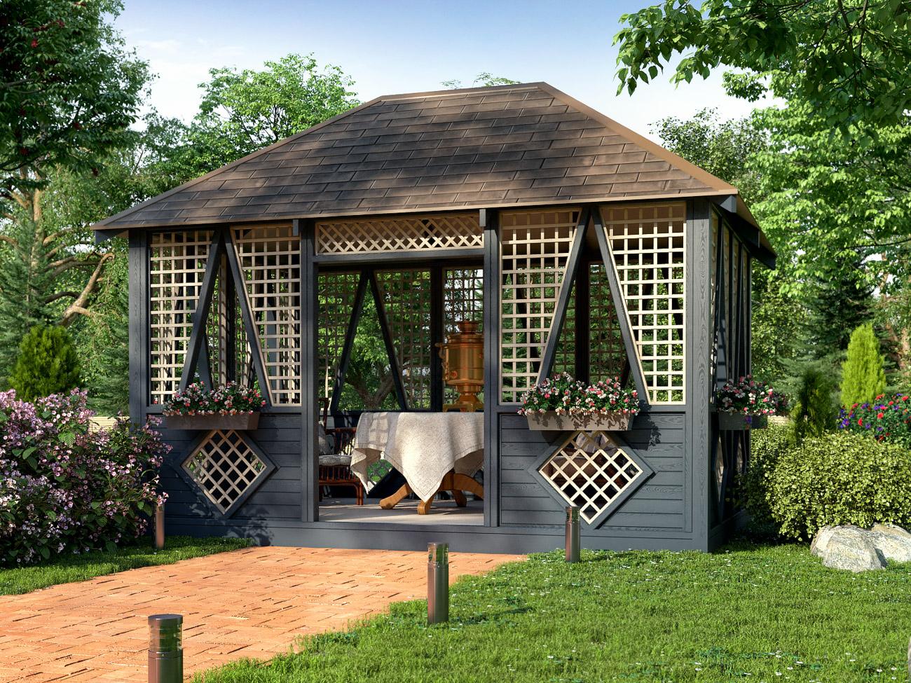 интересует картинки красивого сада с беседкой называется большая система