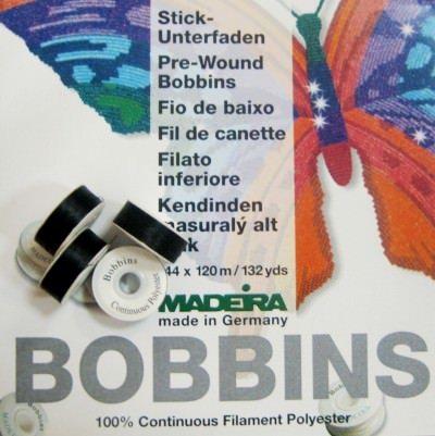 Нить в шпулях Bobbins №150, 125м, черный - Madeira