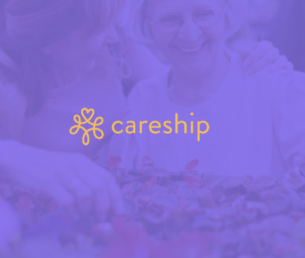 Careship Logo auf lila Hintergrund