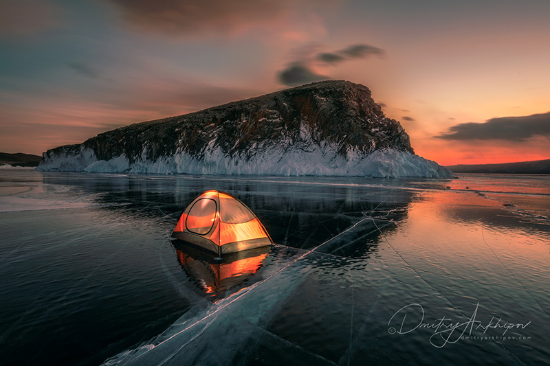 On the ice of Lake Baikal