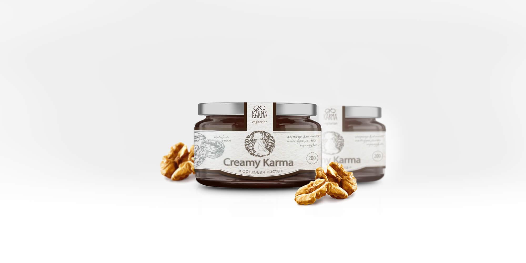 Дизайн упаковки ореховой пасты «Creamy Karma»