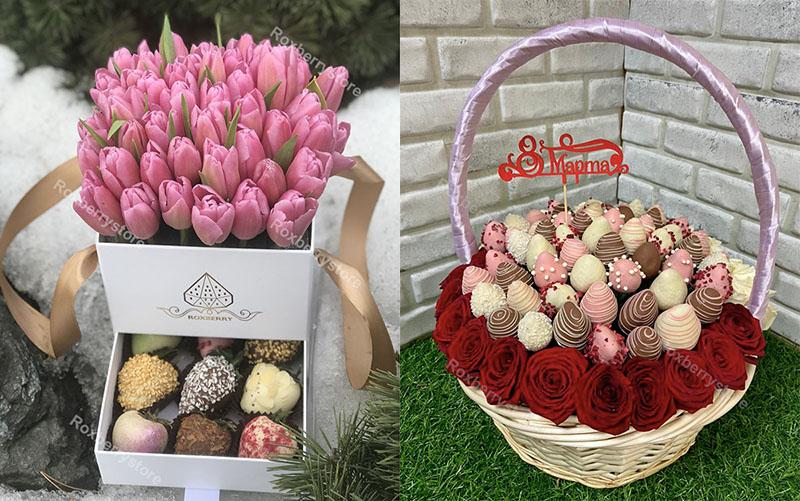 Шкатулка и корзина с цветами и клубникой в шоколаде