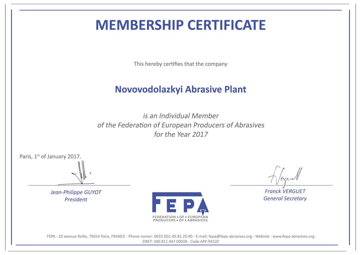 «FEPA» Федерація Європейських Виробників абразиви