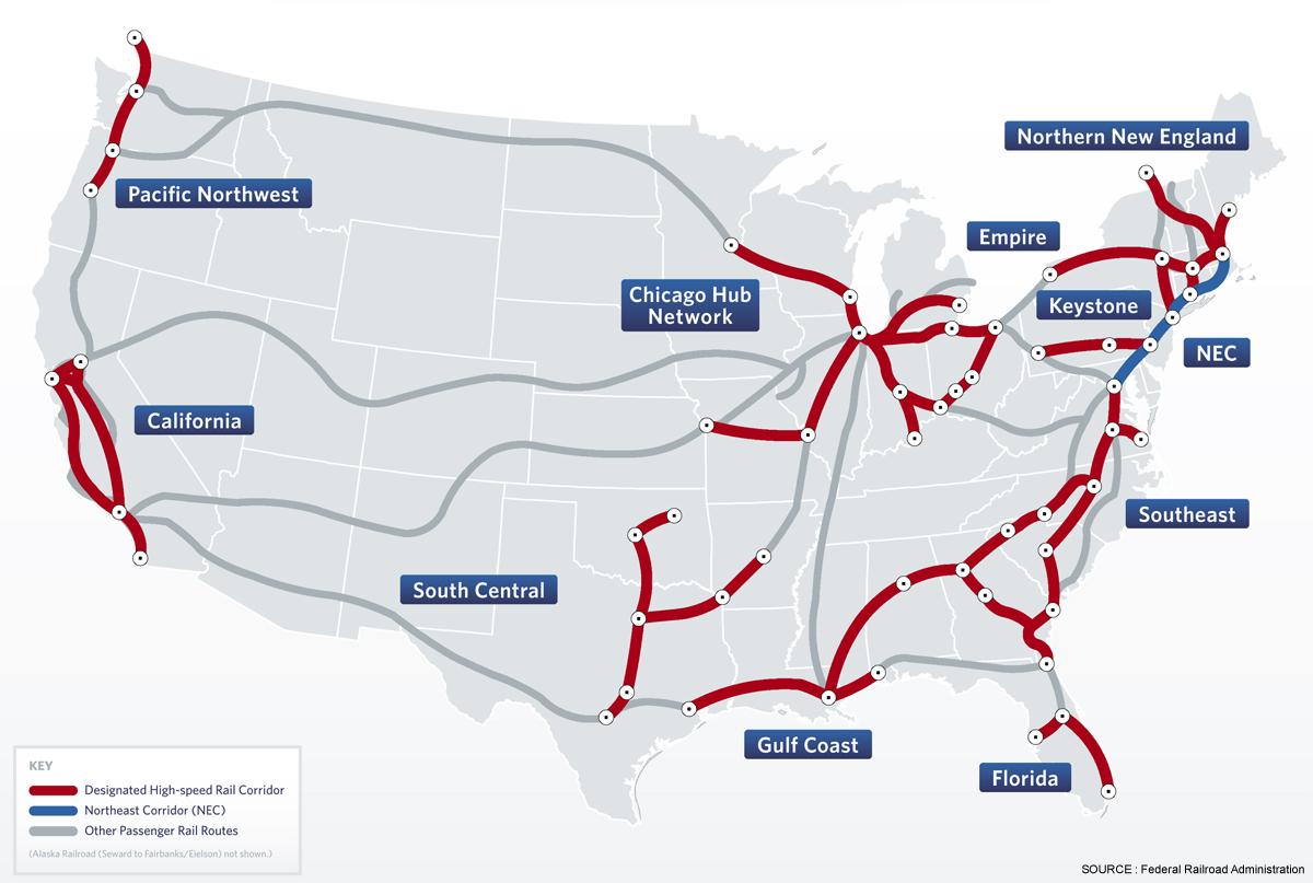 Планы по строительству сети ВСМ в США при Президенте Б. Обама